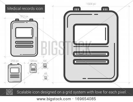 Medical records vector line icon isolated on white background. Medical records line icon for infographic, website or app. Scalable icon designed on a grid system.