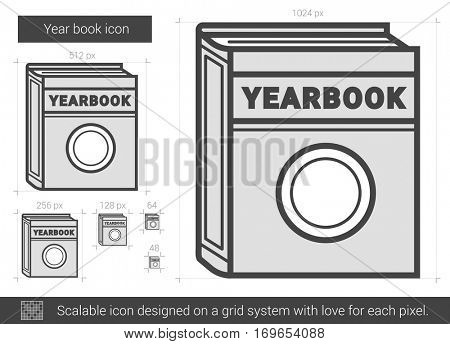 Year book vector line icon isolated on white background. Year book line icon for infographic, website or app. Scalable icon designed on a grid system.