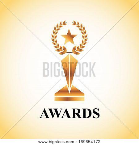 gold trophy of actors awards concept. colorful design. vector illustration