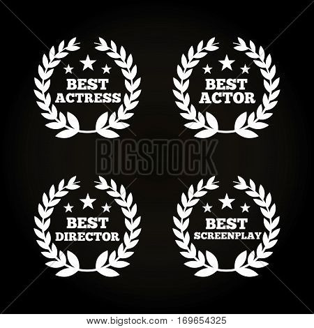 wreaths of leaves of actors awards concept over black background. colorful design. vector illustration