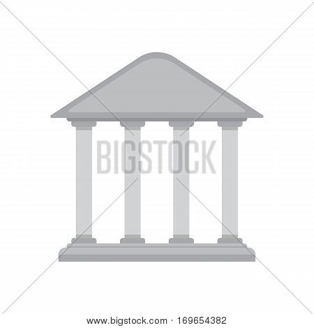 Bank building icon in a classic greek temple style isolated