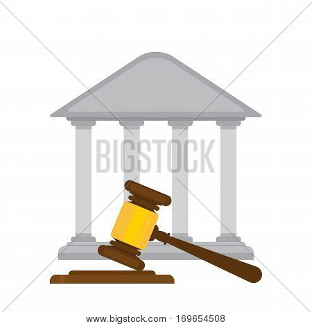 holding judges gavel with a courthouse in the background. flat design