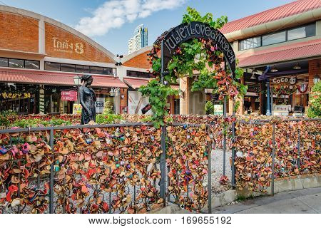 Bangkok, Thailand - January 9, 2016: Juliet Love Garden with its many Love padlocks in Asiatique The Riverfront. It is a large open-air shopping mall in Bangkok, Thailand