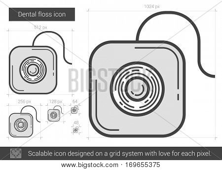 Dental floss vector line icon isolated on white background. Dental floss line icon for infographic, website or app. Scalable icon designed on a grid system.