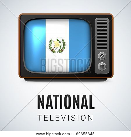 Vintage TV and Flag of Guatemala as Symbol National Television. Tele Receiver with Guatemalan flag