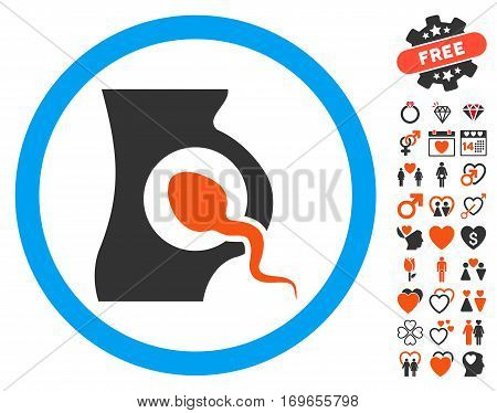 Artificial Insemination icon with bonus valentine graphic icons. Vector illustration style is flat iconic elements for web design app user interfaces.
