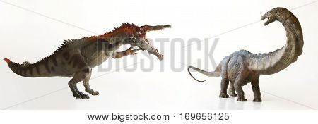 A Carnivorous Baryonyx Dinosaur Menaces an Herbivorous Sauropod on a White Background