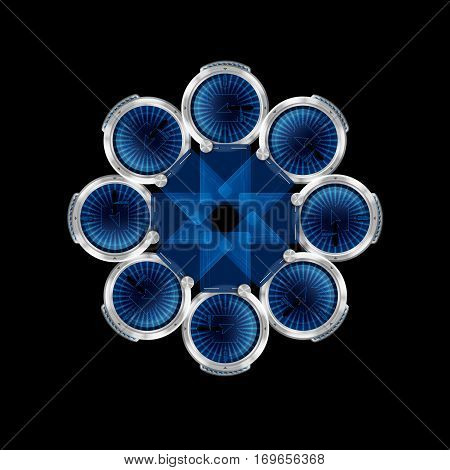 The view of abstract blue pattern in the shape of star