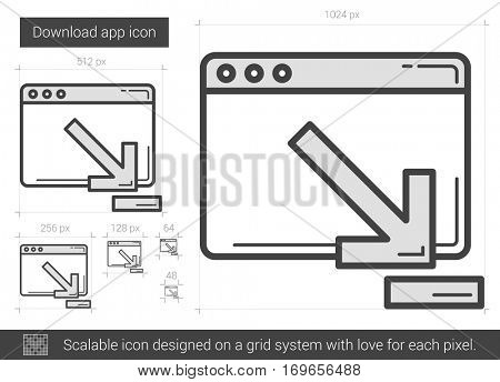 Download app vector line icon isolated on white background. Download app line icon for infographic, website or app. Scalable icon designed on a grid system.