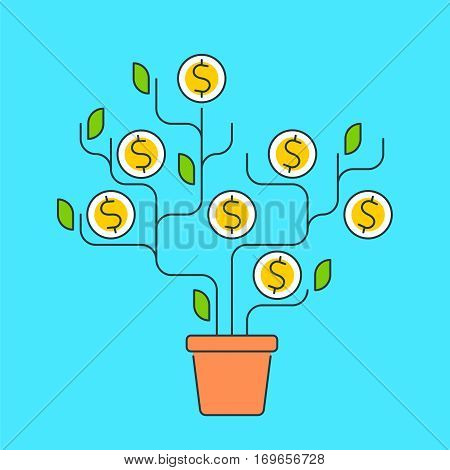 Vector flat line illustration of money tree represent growth concept development process of investing time ideas technologies to growth money. The metaphor of growth business and increase profit.