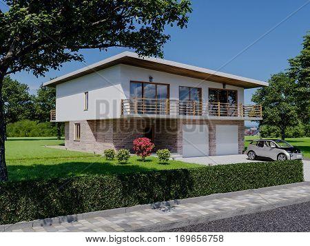 Project villas in minimalist style. The main facade of the villa.