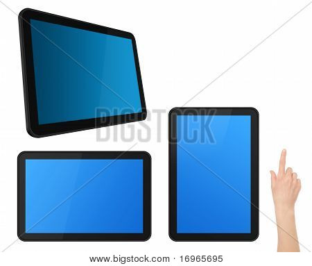 Set Of Interactive Touch Screen Tablets With Hand