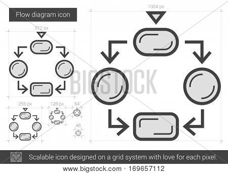 Flow diagram vector line icon isolated on white background. Flow diagram line icon for infographic, website or app. Scalable icon designed on a grid system.