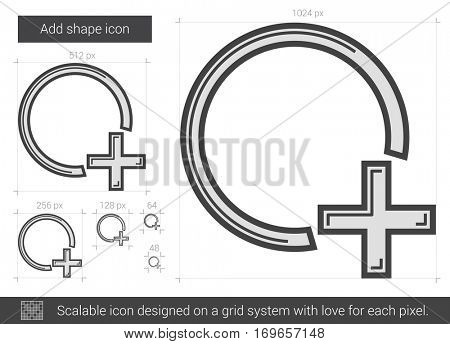 Add shape vector line icon isolated on white background. Add shape line icon for infographic, website or app. Scalable icon designed on a grid system.