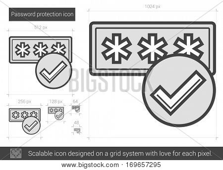 Password protection vector line icon isolated on white background. Password protection line icon for infographic, website or app. Scalable icon designed on a grid system.
