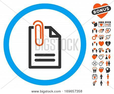 Attach Document pictograph with bonus decoration pictograph collection. Vector illustration style is flat iconic elements for web design app user interfaces.