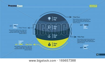 Four steps sphere percentage chart. Business data. Comparison, diagram, design. Concept for infographic, presentation, report. Can be used for topics like analysis, statistics, research.