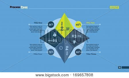 Four-rayed star percentage chart. Business data. Step, diagram, design. Creative concept for infographic, templates, presentation, report. Can be used for topics like analysis, statistics, research.