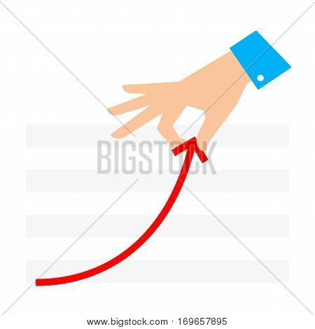 Improve business concept. Flat illustration of chart and hand. Businessman pull growth arrow graph to improve progress and success. Vector template for infographic web publish social networks.