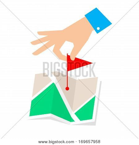 Rout pointer concept. Flat vector illustration of map and hand with flag marker. Man is routing a rout and pointing a place on the plan. Infographic element for web publishing social networks.
