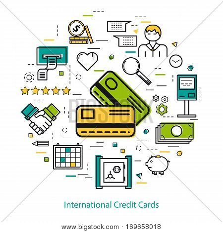 Vector round concept of International Credit Cards or easy payment in thin line style. Two credit cards, businessman, device and finance icons. Modern round web banner