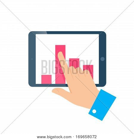 Improve business concept. Flat illustration of tablet and hand. Businessman push column chart up on the screen to improve progress success and get profit. Vector infographic element for web and print.