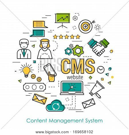 Vector round concept of CMS - content management system in thin line style. Modern round web banner