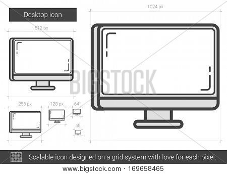 Desktop vector line icon isolated on white background. Desktop line icon for infographic, website or app. Scalable icon designed on a grid system.