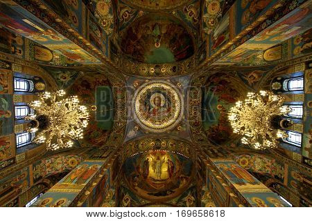 SAINT-PETERSBURG RUSSIA - JANUARY 05 2017: The mosaic paintings on the dome and walls of the Church of the Savior on Blood in Saint-Petersburg