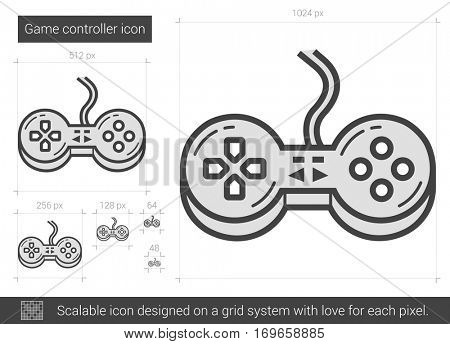 Game controller vector line icon isolated on white background. Game controller line icon for infographic, website or app. Scalable icon designed on a grid system.