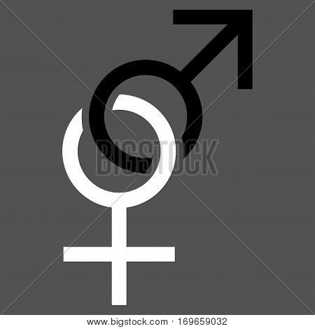 Sex Symbol flat icon. Vector bicolor black and white symbol. Pictograph is isolated on a gray background. Trendy flat style illustration for web site design logo ads apps user interface.