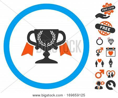 Award Cup icon with bonus decoration pictograms. Vector illustration style is flat iconic elements for web design app user interfaces.