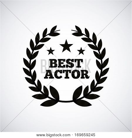 wreath of leaves over white background .actors awards concept. vector illustration