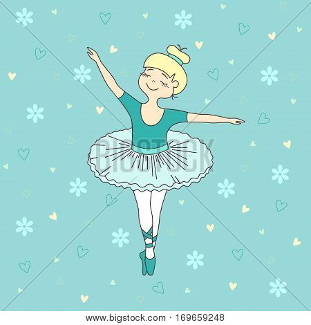 Vector illustration of nice little ballet dancer on blue background with flowers and hearts