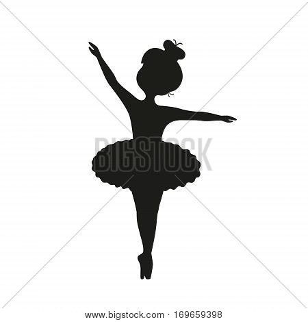 Vector black silhouette of nice little ballet dancer