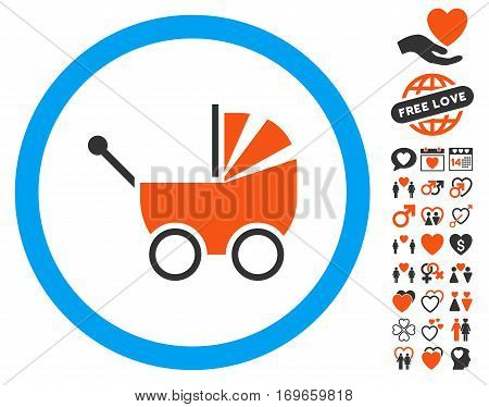Baby Carriage icon with bonus dating design elements. Vector illustration style is flat iconic symbols for web design app user interfaces.