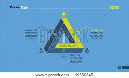 Triangle sides percentage chart. Business data. Comparison, diagram, design. Concept for infographic, presentation, report. Can be used for topics like analysis, statistics, research.