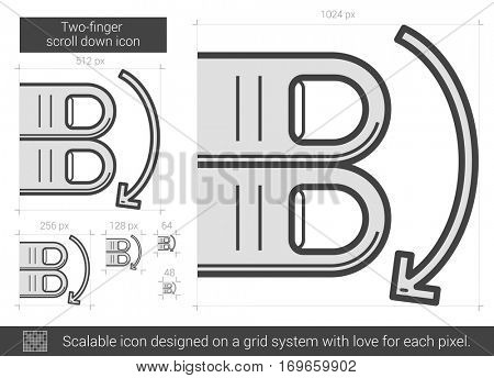 Two-finger scroll down vector line icon isolated on white background. Two-finger scroll down line icon for infographic, website or app. Scalable icon designed on a grid system.