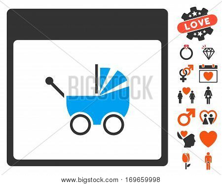 Baby Carriage Calendar Page pictograph with bonus valentine pictures. Vector illustration style is flat iconic symbols for web design app user interfaces.