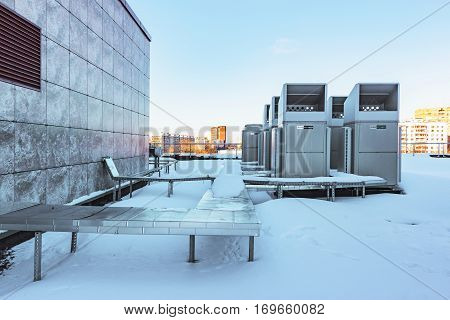 Moscow Russian Federation February 02 2017: Air conditioning system Mitsubishi assembled and installed on top of a building.