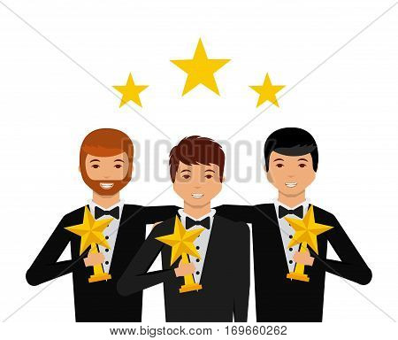 group of actors  with stars trophies cartoon icon over white background. actors awards concept. colorful design. vector illustration