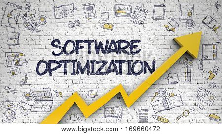 Software Optimization Drawn on White Brickwall. Illustration with Doodle Design Icons. Software Optimization - Increase Concept with Doodle Design Icons Around on the White Wall Background.