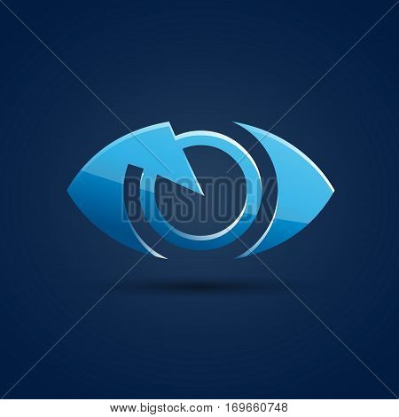 Vector sign blue eye photographer in blue