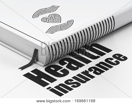 Insurance concept: closed book with Black Heart And Palm icon and text Health Insurance on floor, white background, 3D rendering