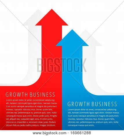 Increasing graphs concept. Red and blue arrows represent growth business and process. Flat infographic element for document article presentation background for web print publish social networks.