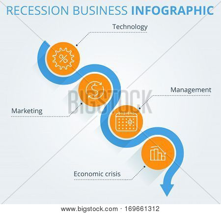 Decreasing graph concept. Arrow depict recession business and process. Flat vector illustration of downward arrow and business icons. Infographic elements template for web publish social networks.