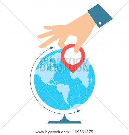 Business travel concept. Flat vector illustration of western globe hemisphere and hand with pin marker. Man is pointing a place on the map. Infographic element for web print social networks.