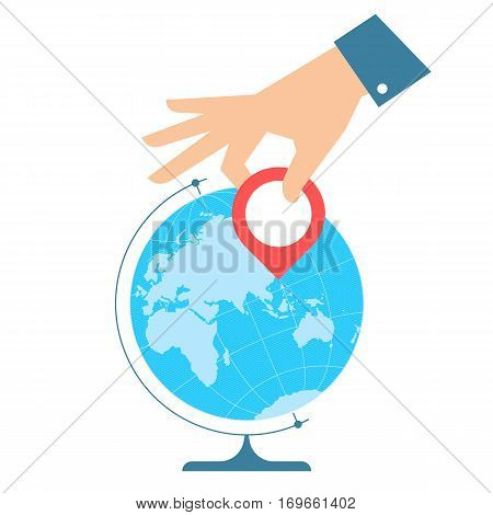 Business trip concept. Flat vector illustration of eastern globe hemisphere and hand with pin marker. Businessman is pointing a place on the map. Infographic element for web publish presentation.