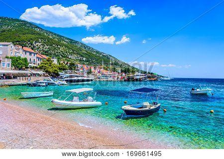 Summertime in famous Adriatic destination, town Bol on Island Brac, european picturesque places in Croatia.