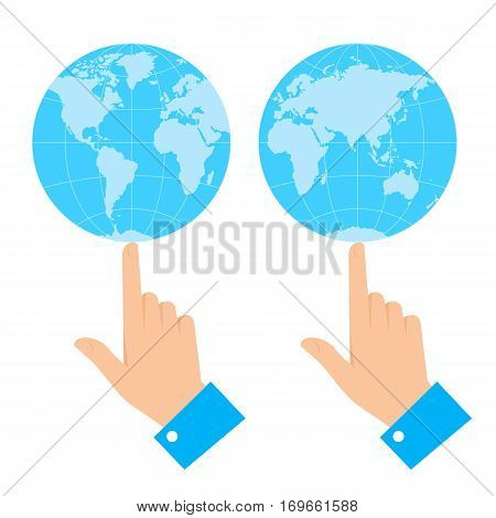 Business control concept. Flat vector illustration of globe balancing on the finger of hand. Man is holding and spinning world on forefinger. Infographic element for web print publish presentation